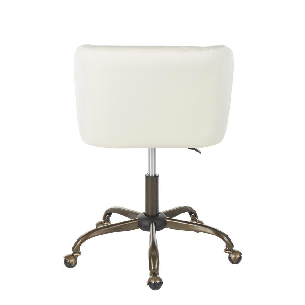 Fran Contemporary Task Chair in Cream Velvet. Picture 4