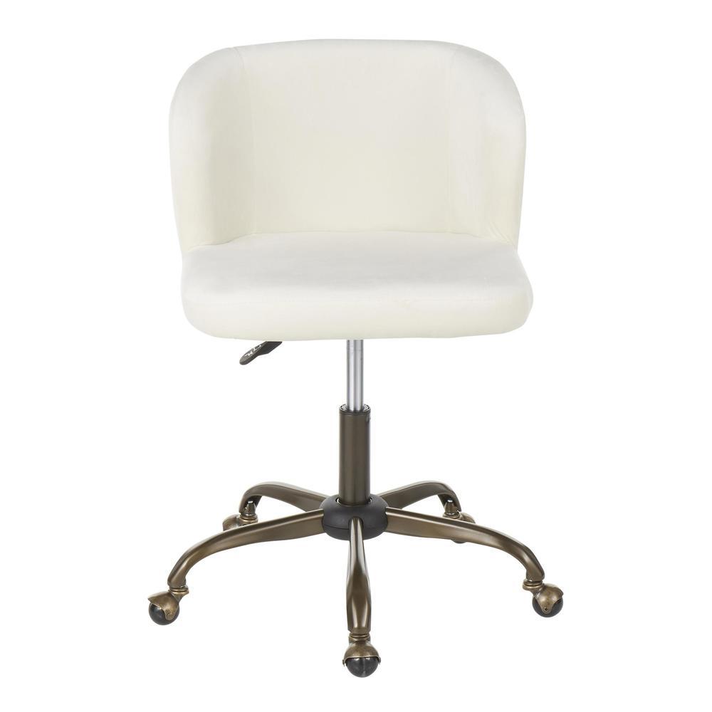Fran Contemporary Task Chair in Cream Velvet. Picture 5