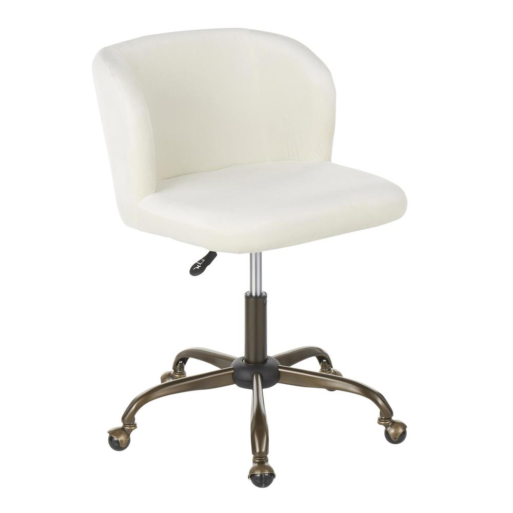 Fran Contemporary Task Chair in Cream Velvet. Picture 1