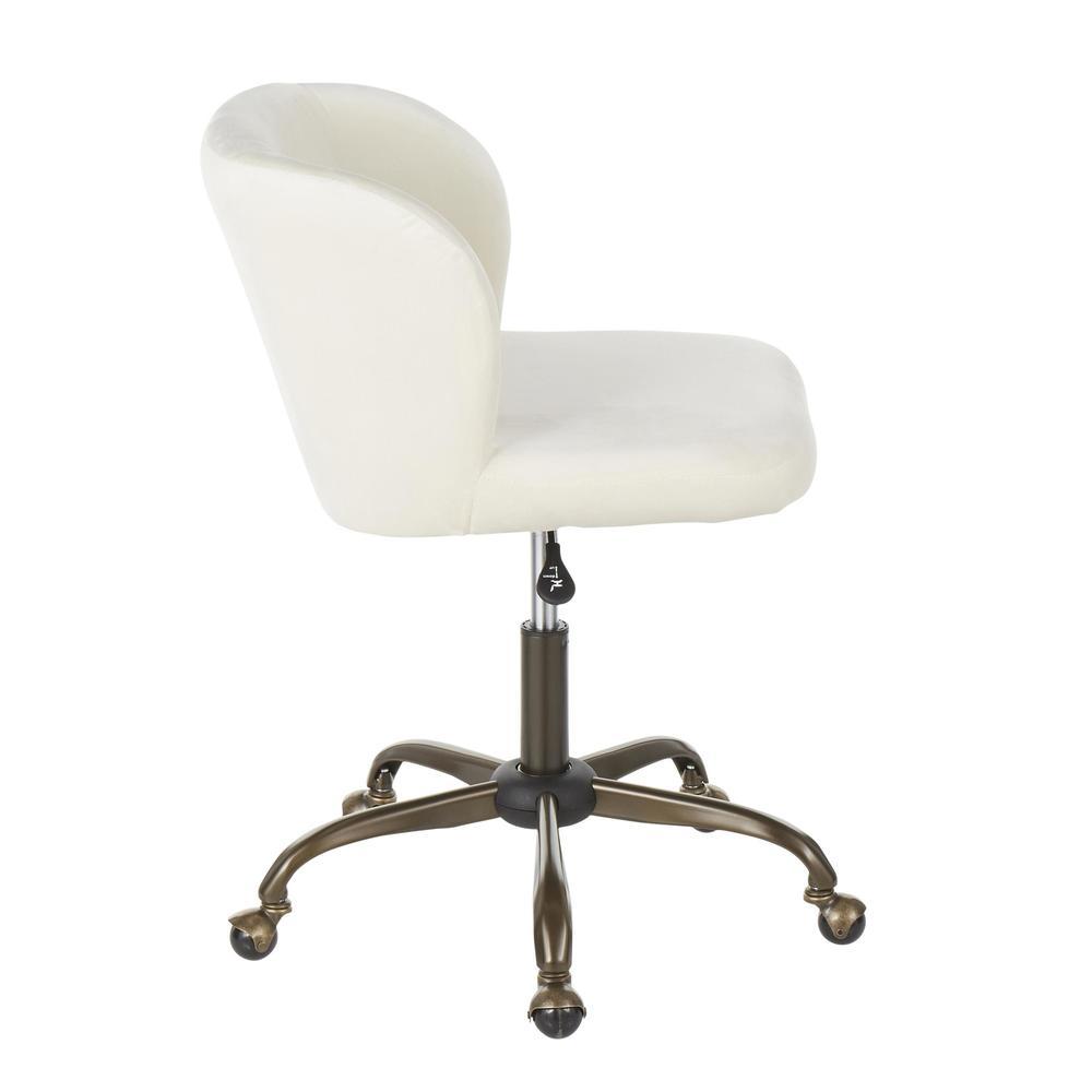 Fran Contemporary Task Chair in Cream Velvet. Picture 2