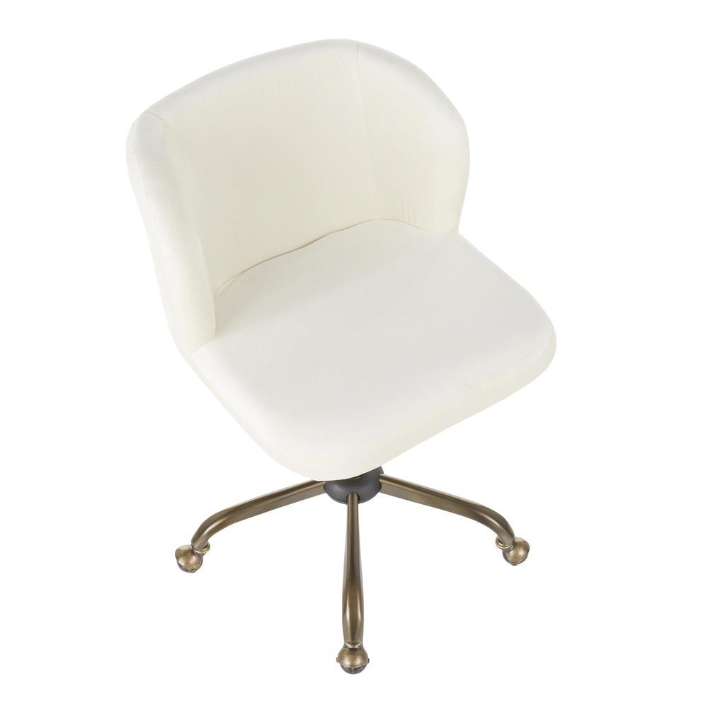Fran Contemporary Task Chair in Cream Velvet. Picture 6