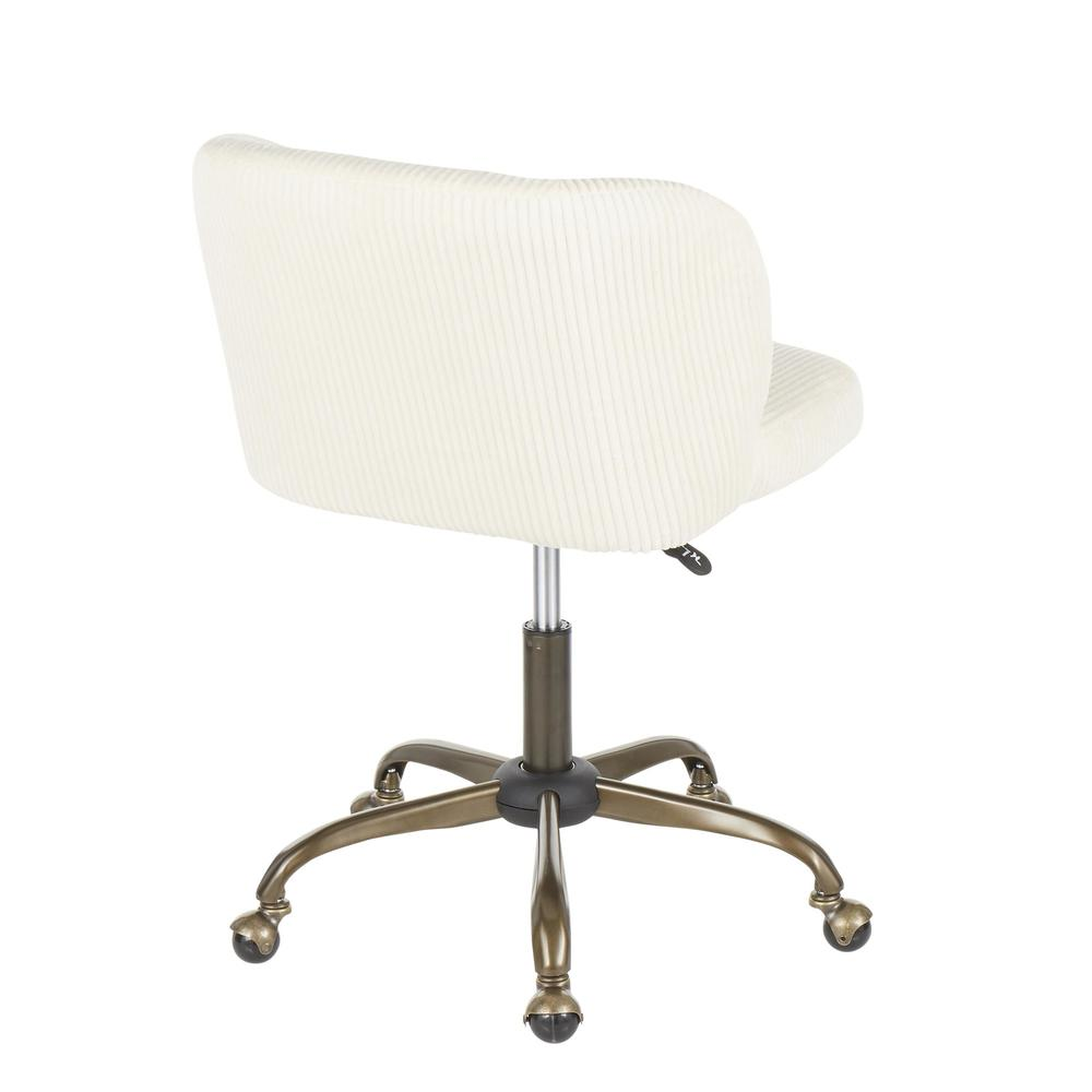 Fran Contemporary Task Chair in Cream Corduroy Fabric. Picture 3