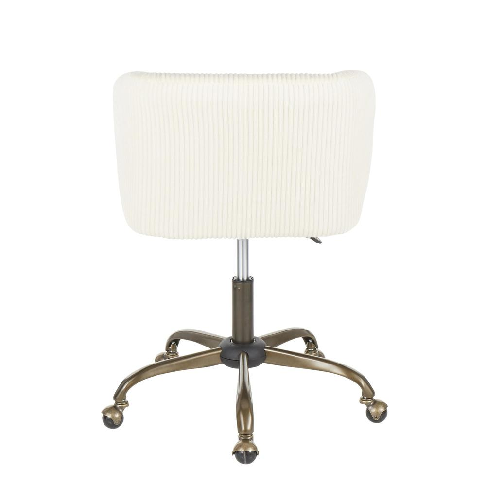 Fran Contemporary Task Chair in Cream Corduroy Fabric. Picture 4