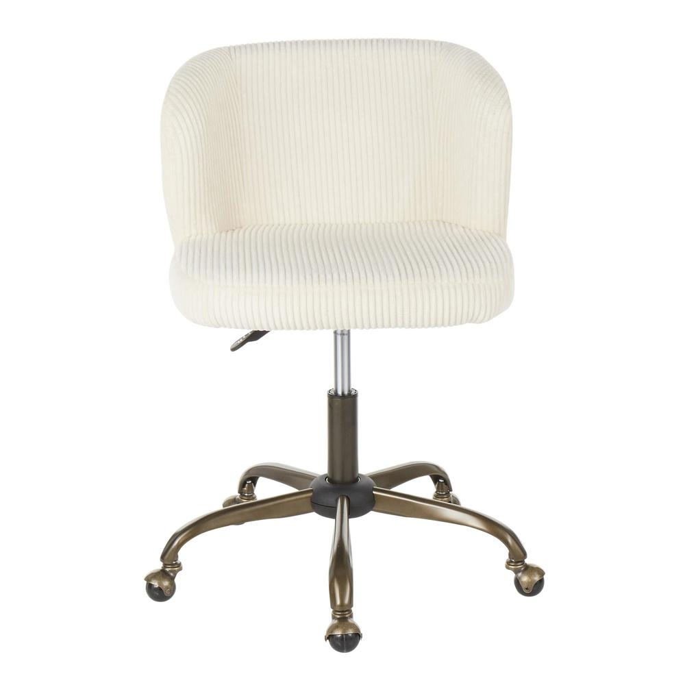 Fran Contemporary Task Chair in Cream Corduroy Fabric. Picture 5
