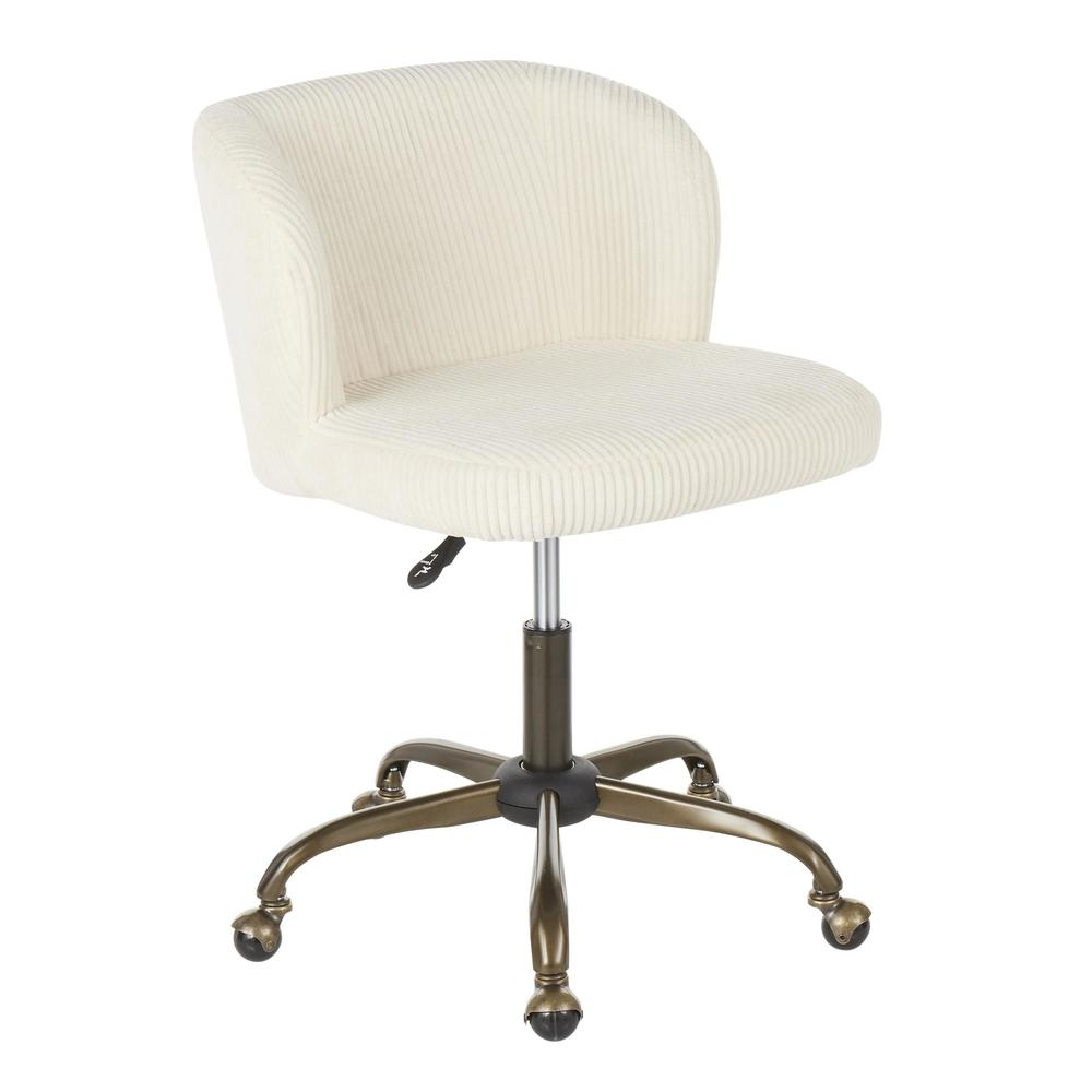 Fran Contemporary Task Chair in Cream Corduroy Fabric. Picture 1