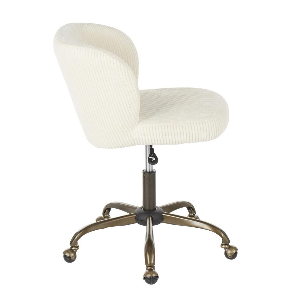 Fran Contemporary Task Chair in Cream Corduroy Fabric. Picture 2