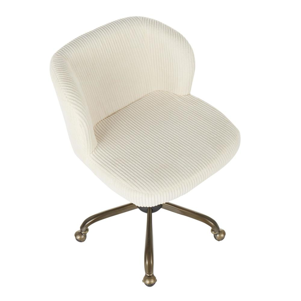 Fran Contemporary Task Chair in Cream Corduroy Fabric. Picture 6
