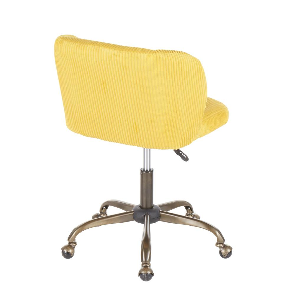 Fran Contemporary Task Chair in Yellow Corduroy Fabric. Picture 3