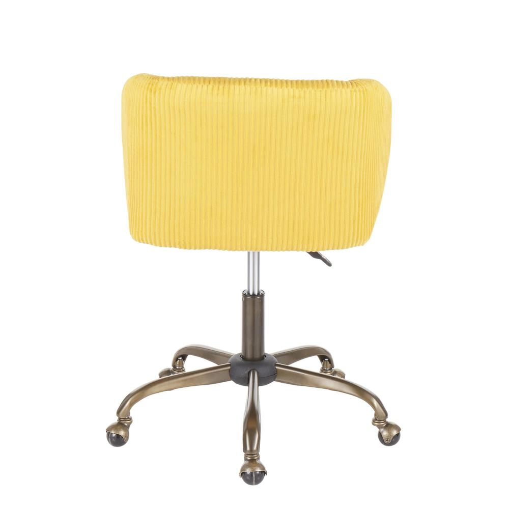 Fran Contemporary Task Chair in Yellow Corduroy Fabric. Picture 4