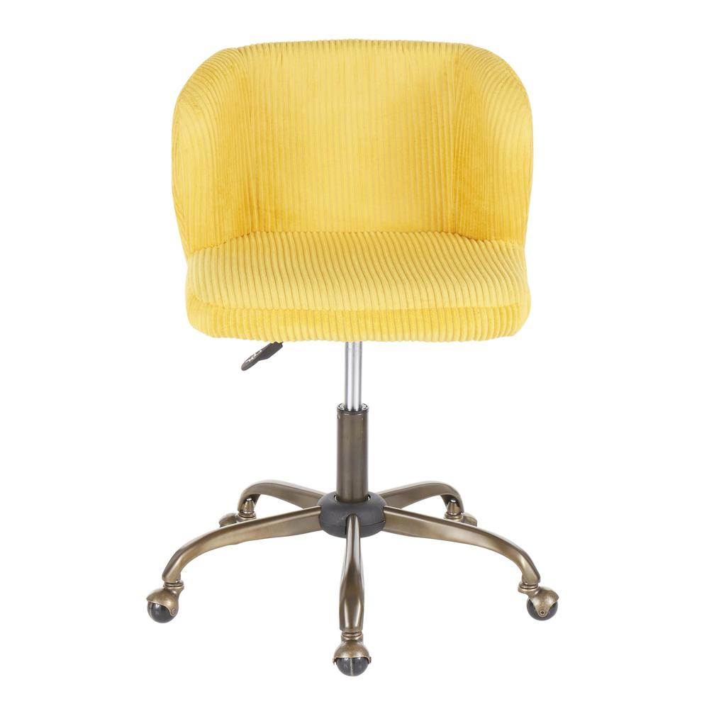 Fran Contemporary Task Chair in Yellow Corduroy Fabric. Picture 5