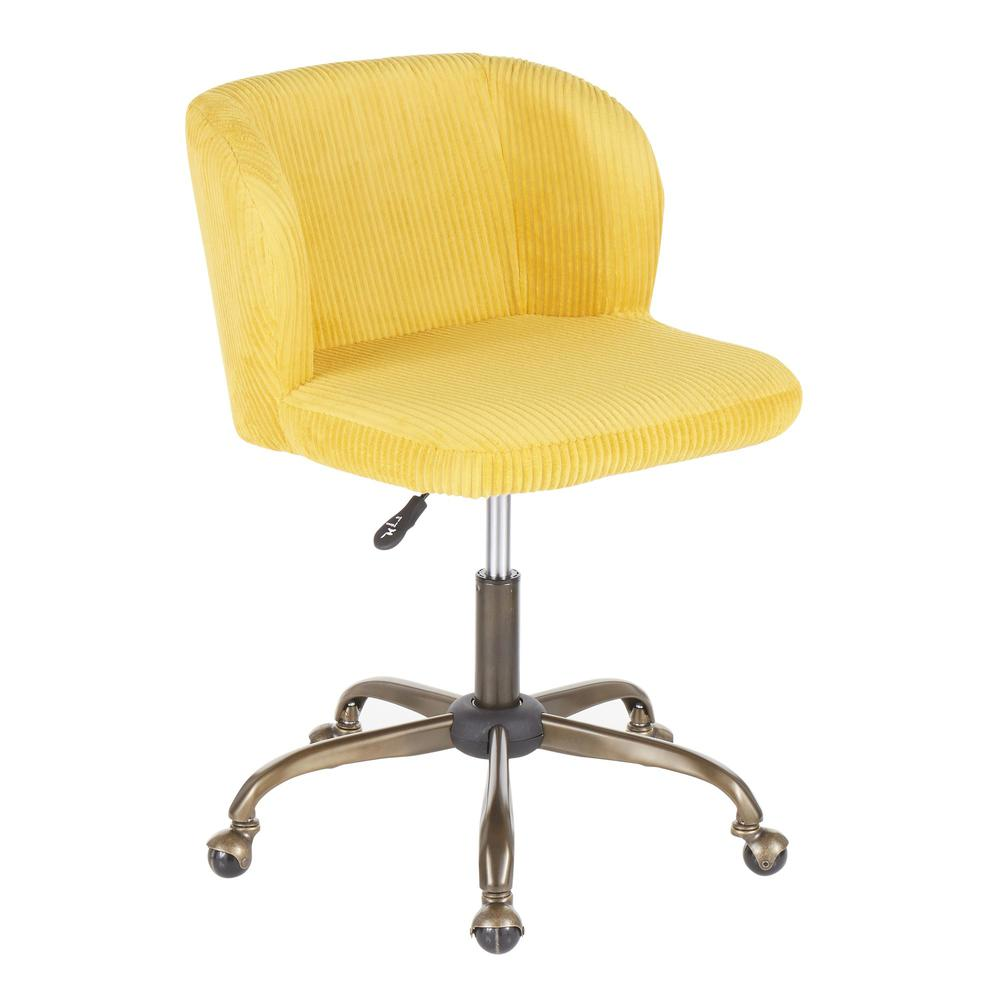 Fran Contemporary Task Chair in Yellow Corduroy Fabric. Picture 1