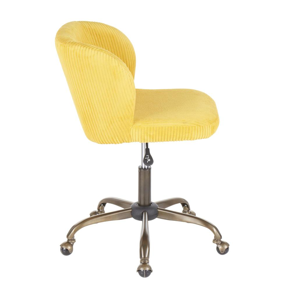 Fran Contemporary Task Chair in Yellow Corduroy Fabric. Picture 2