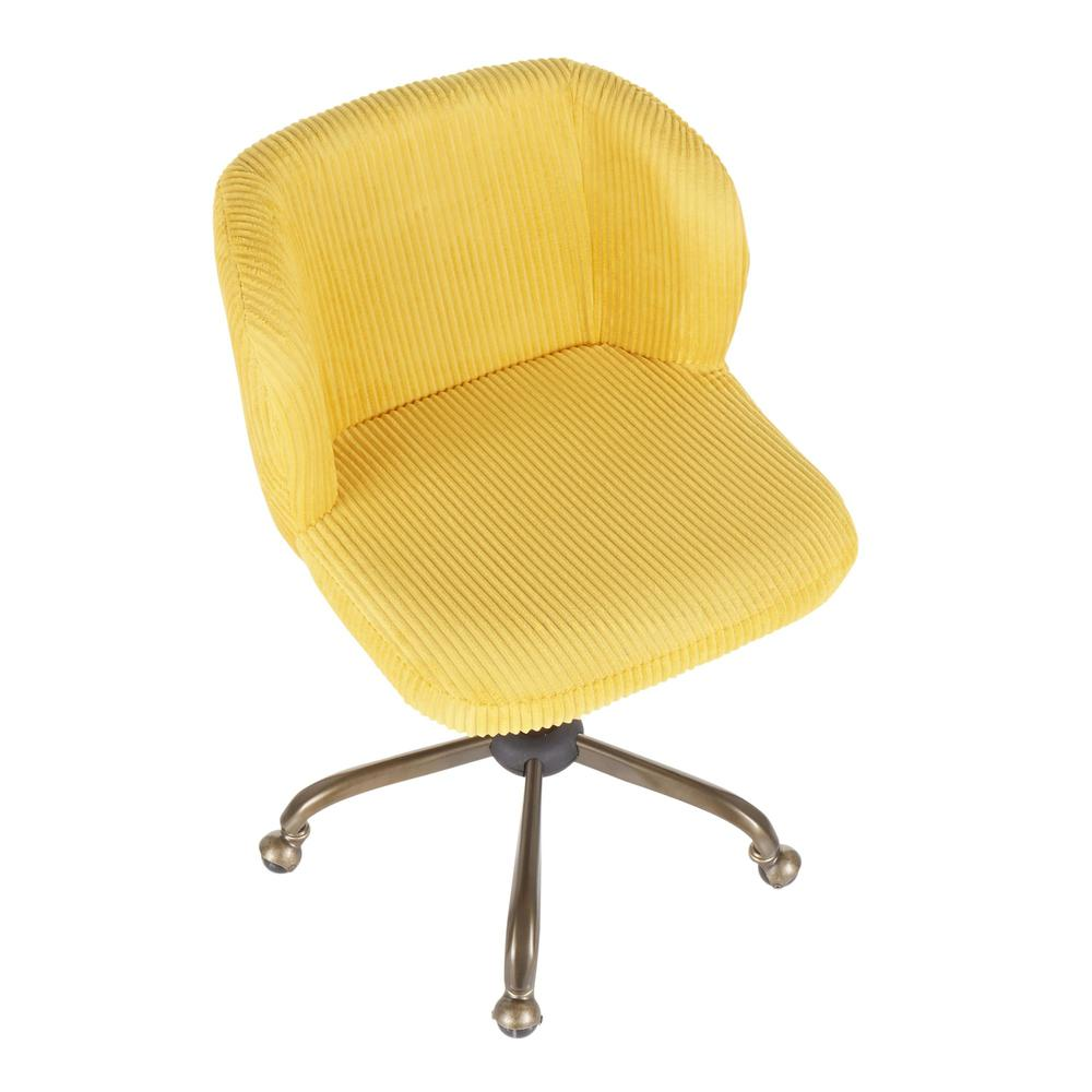 Fran Contemporary Task Chair in Yellow Corduroy Fabric. Picture 6