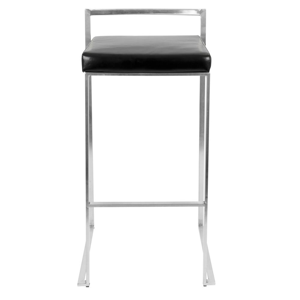 Fuji Contemporary Stackable Barstool with Black Faux Leather - Set of 2. Picture 6
