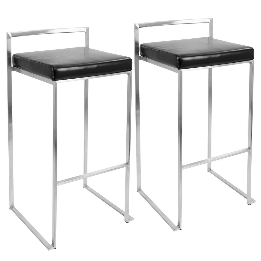 Fuji Contemporary Stackable Barstool with Black Faux Leather - Set of 2. Picture 1