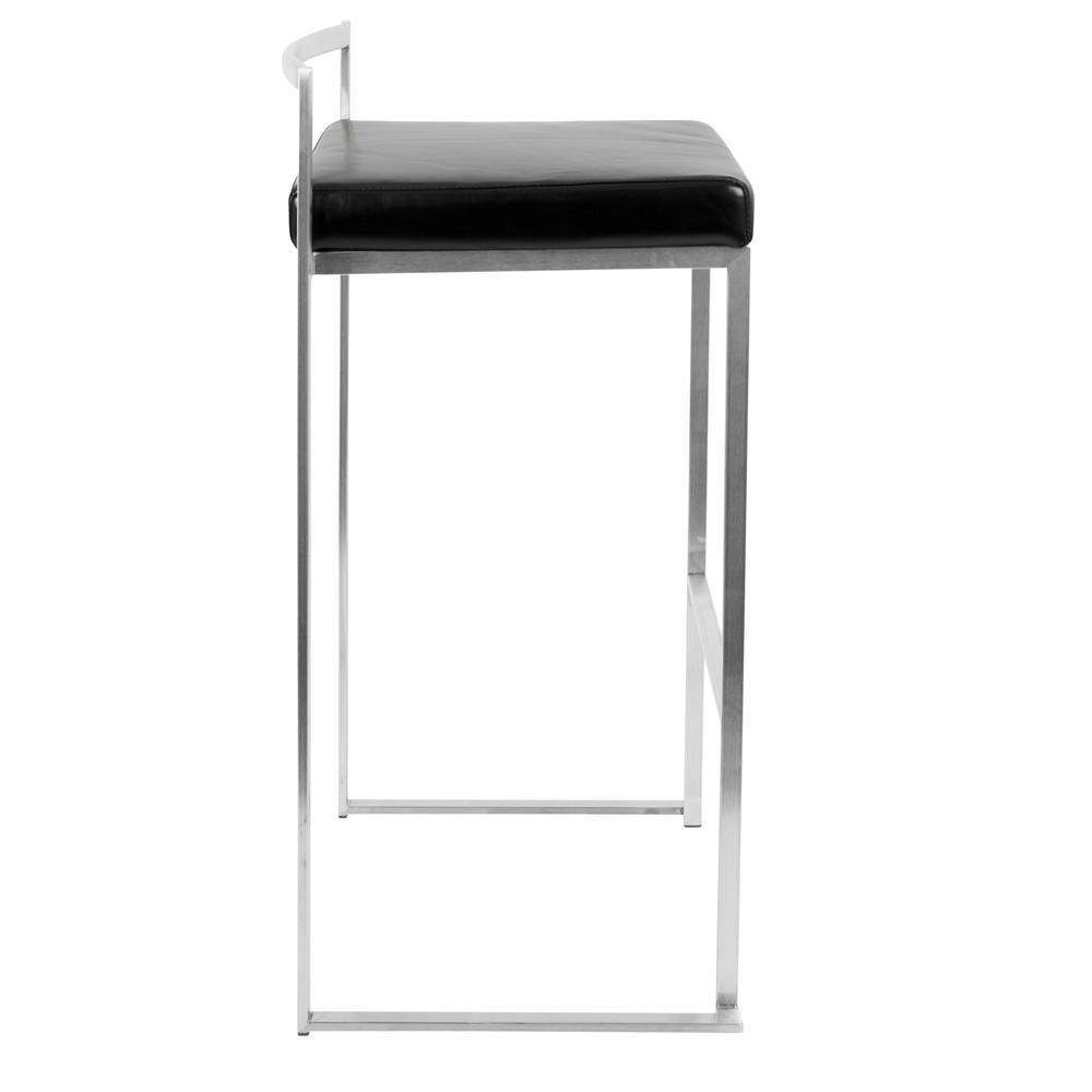 Fuji Contemporary Stackable Barstool with Black Faux Leather - Set of 2. Picture 3