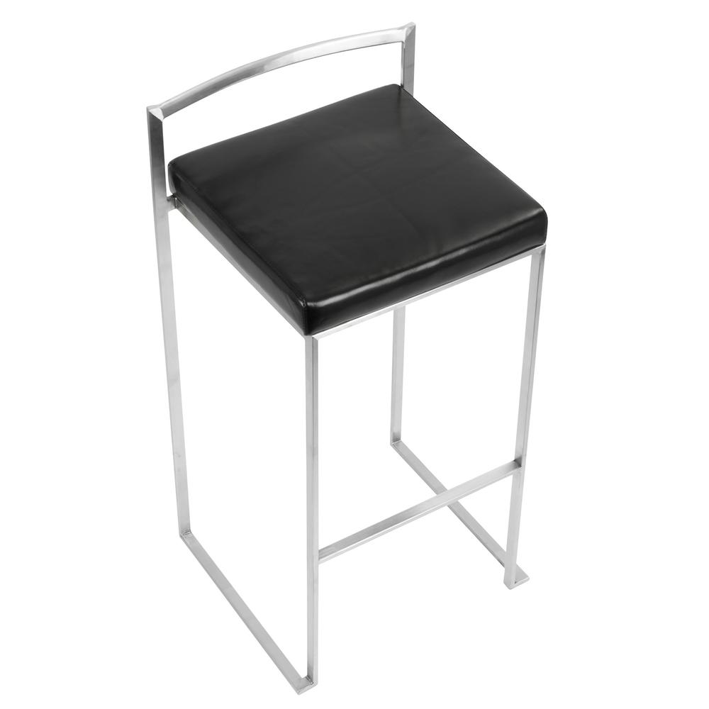 Fuji Contemporary Stackable Barstool with Black Faux Leather - Set of 2. Picture 7
