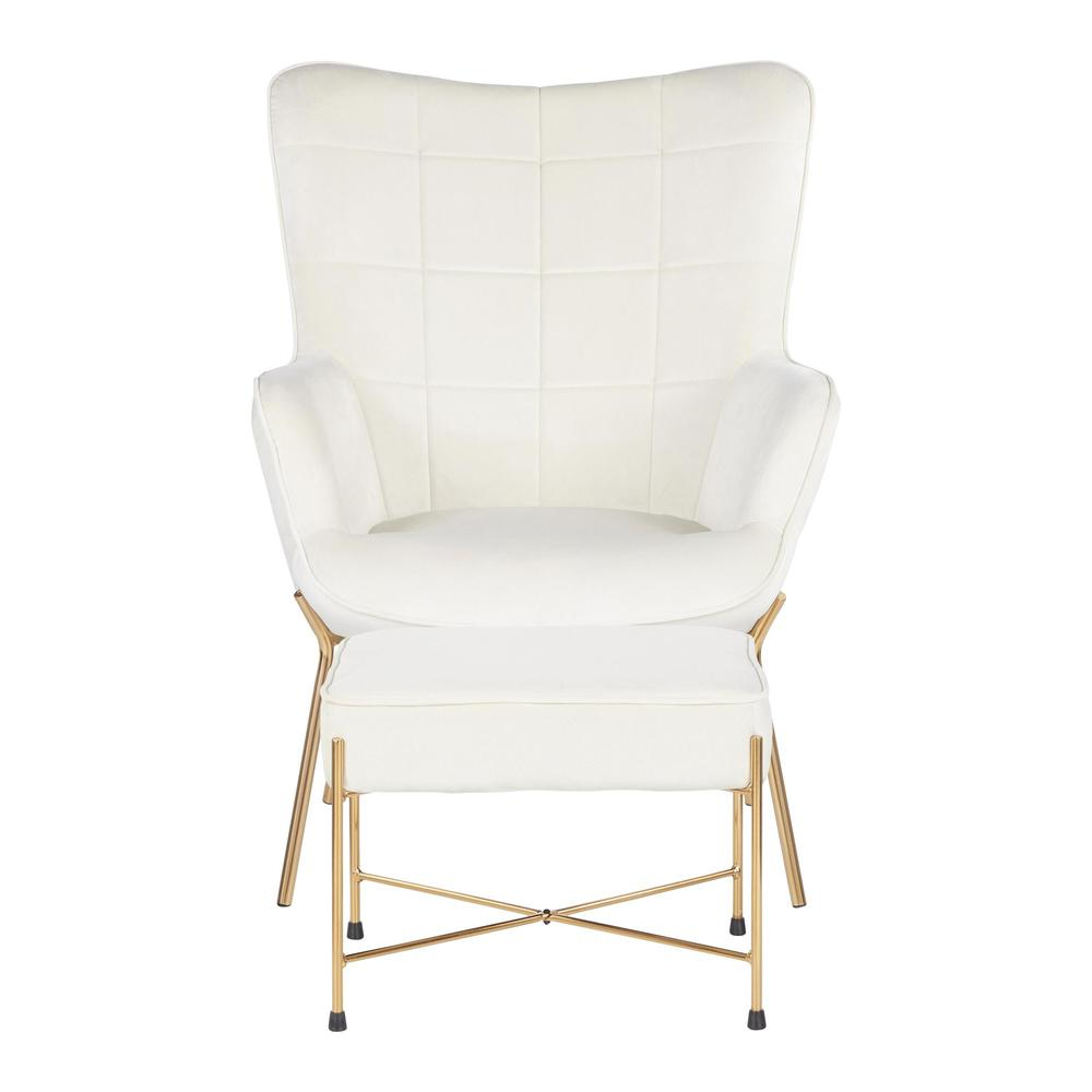 Izzy Contemporary Lounge Chair And Ottoman Set In Gold