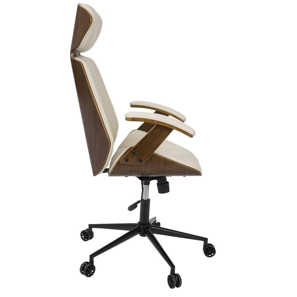 Spectre Mid Century Modern Walnut Wood Office Chair In Cream