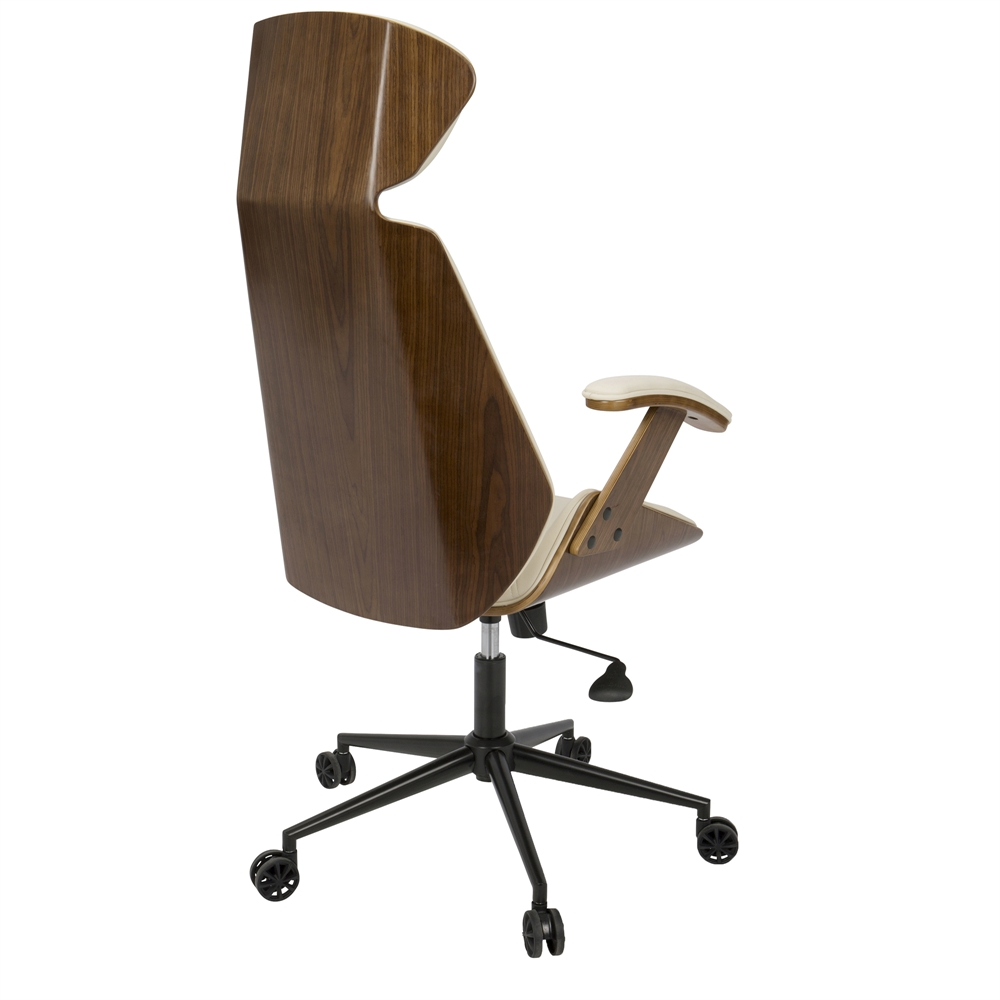 Mid Century Modernist High Back Or Desk Chair W New: Spectre Mid-Century Modern Walnut Wood Office Chair In Cream