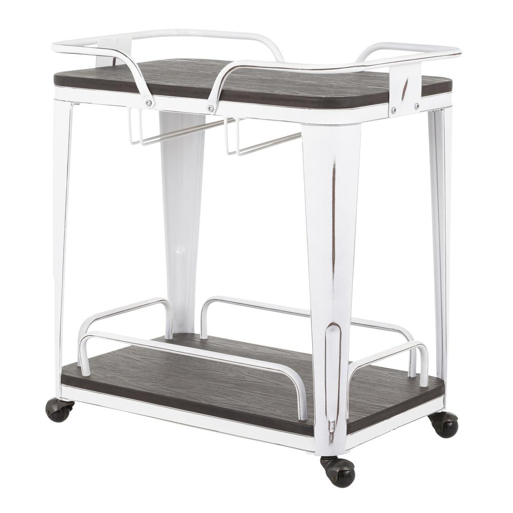 Oregon Industrial Bar Cart in Vintage White Metal and Espresso Wood-Pressed Grain Bamboo. Picture 3