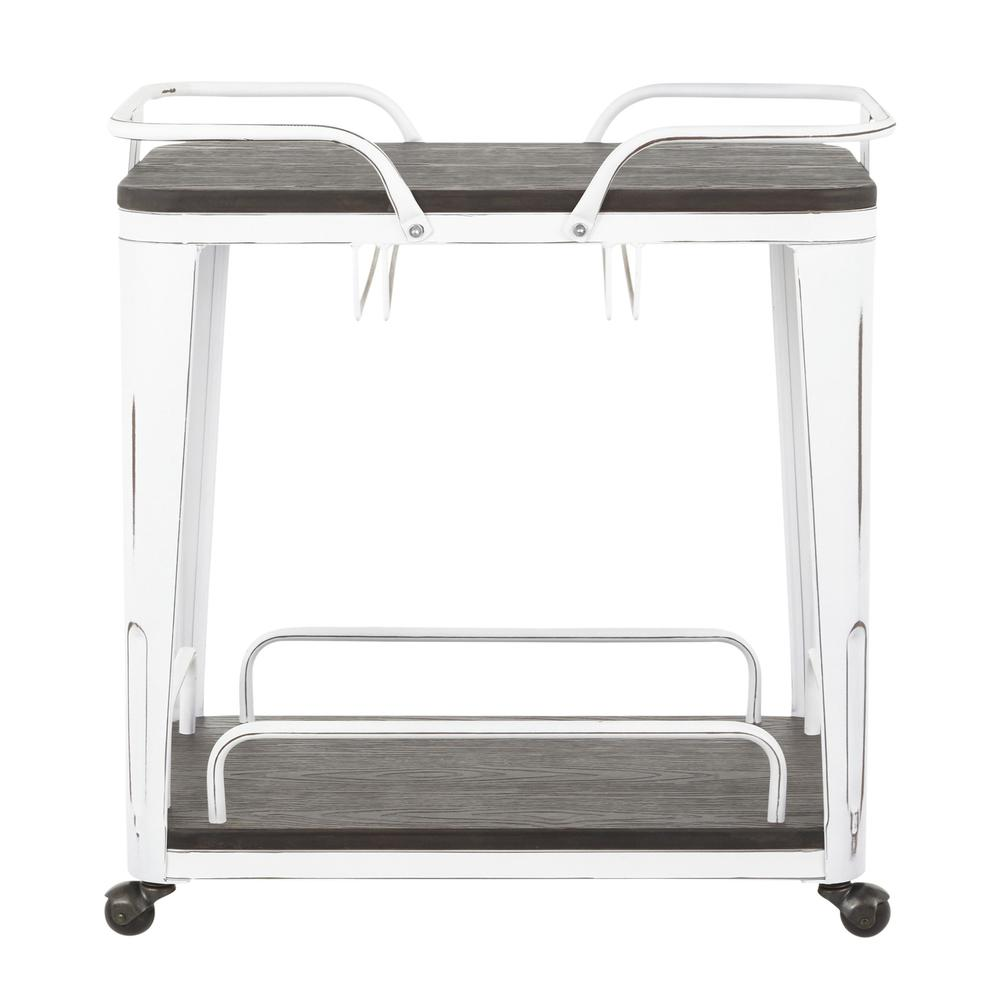 Oregon Industrial Bar Cart in Vintage White Metal and Espresso Wood-Pressed Grain Bamboo. Picture 4