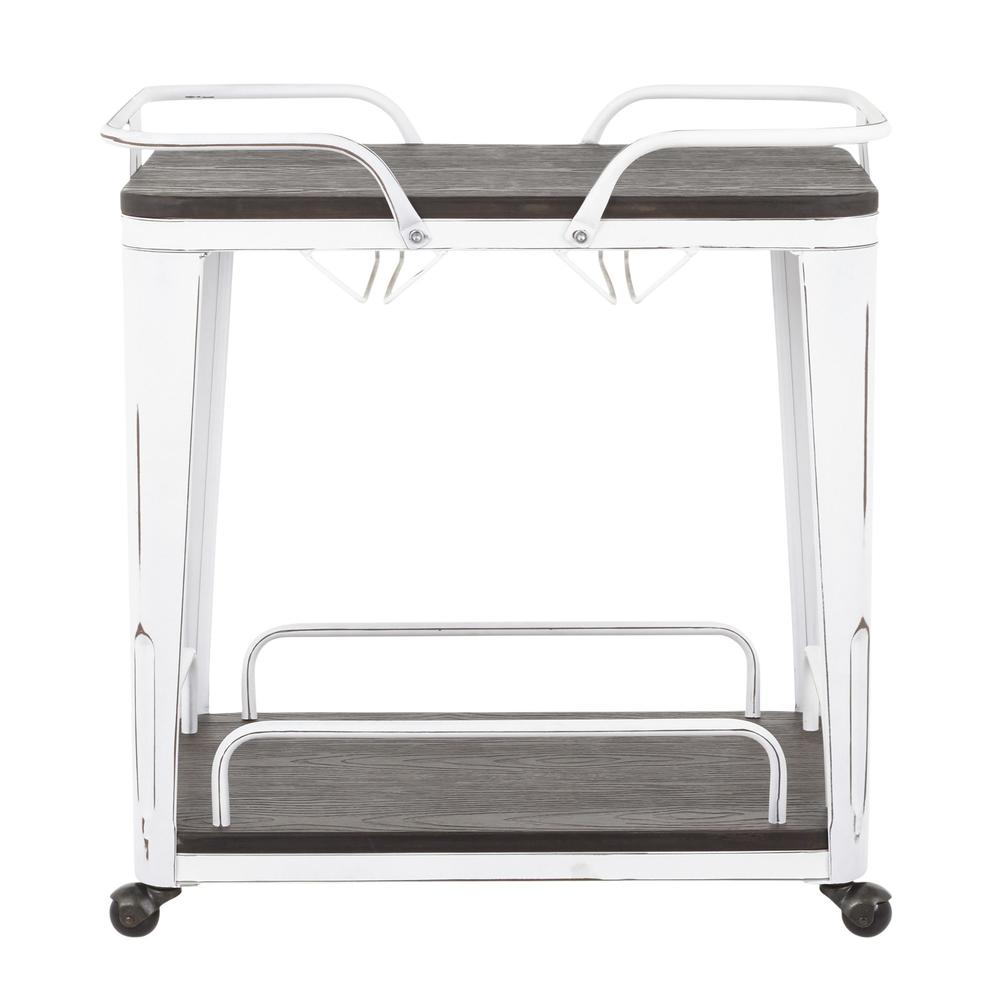 Oregon Industrial Bar Cart in Vintage White Metal and Espresso Wood-Pressed Grain Bamboo. Picture 5