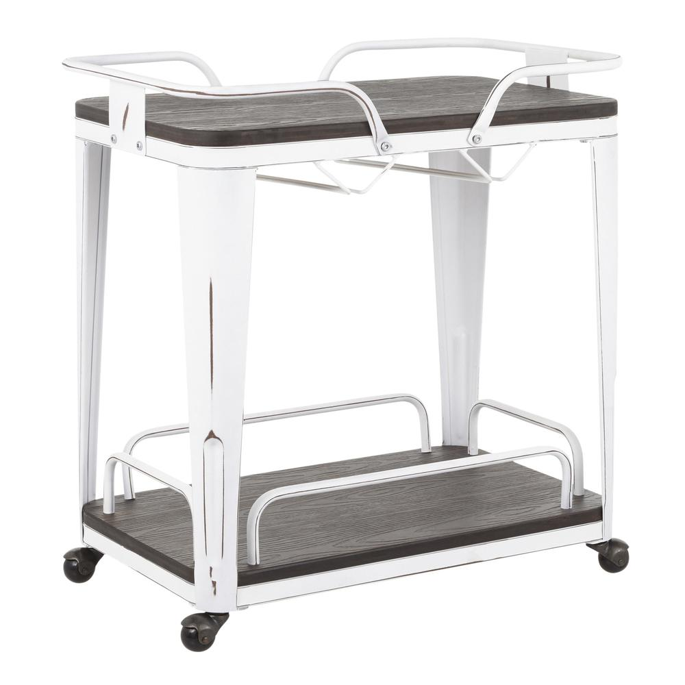Oregon Industrial Bar Cart in Vintage White Metal and Espresso Wood-Pressed Grain Bamboo. Picture 1