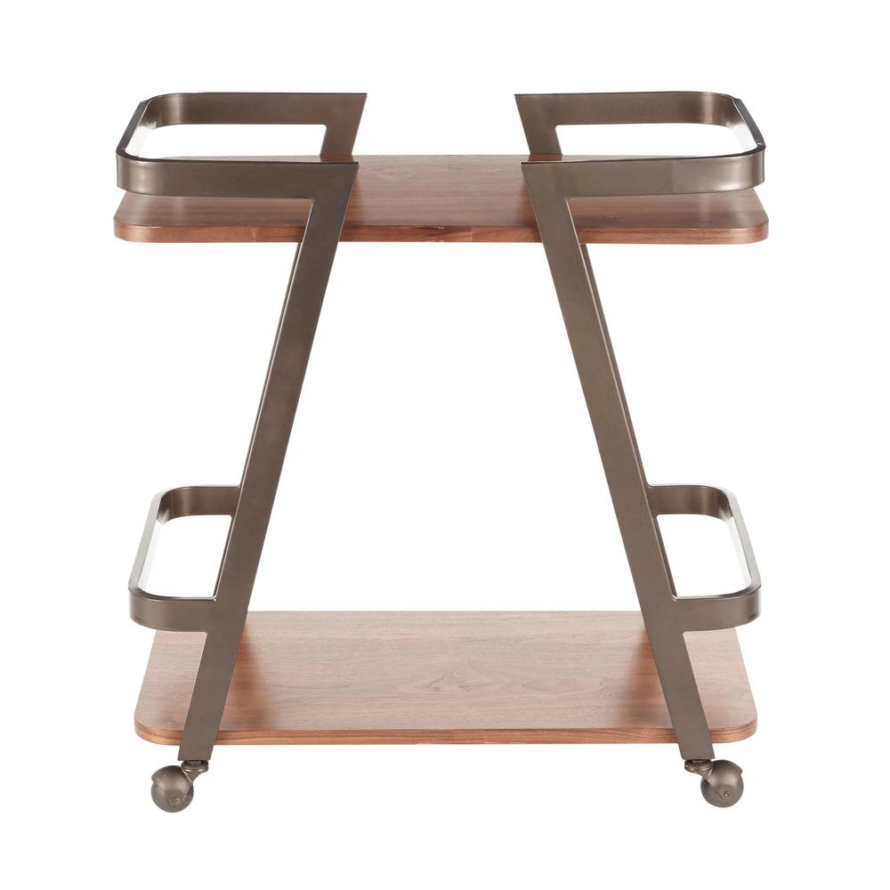Seven Industrial Bar Cart in Antique Metal and Walnut Wood. Picture 4