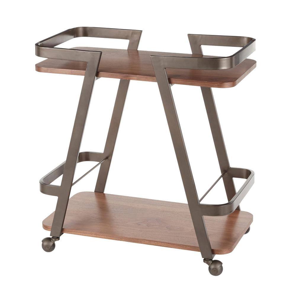 Seven Industrial Bar Cart in Antique Metal and Walnut Wood. Picture 3