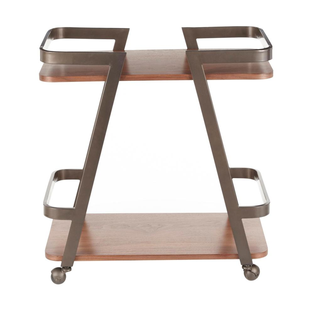 Seven Industrial Bar Cart in Antique Metal and Walnut Wood. Picture 5