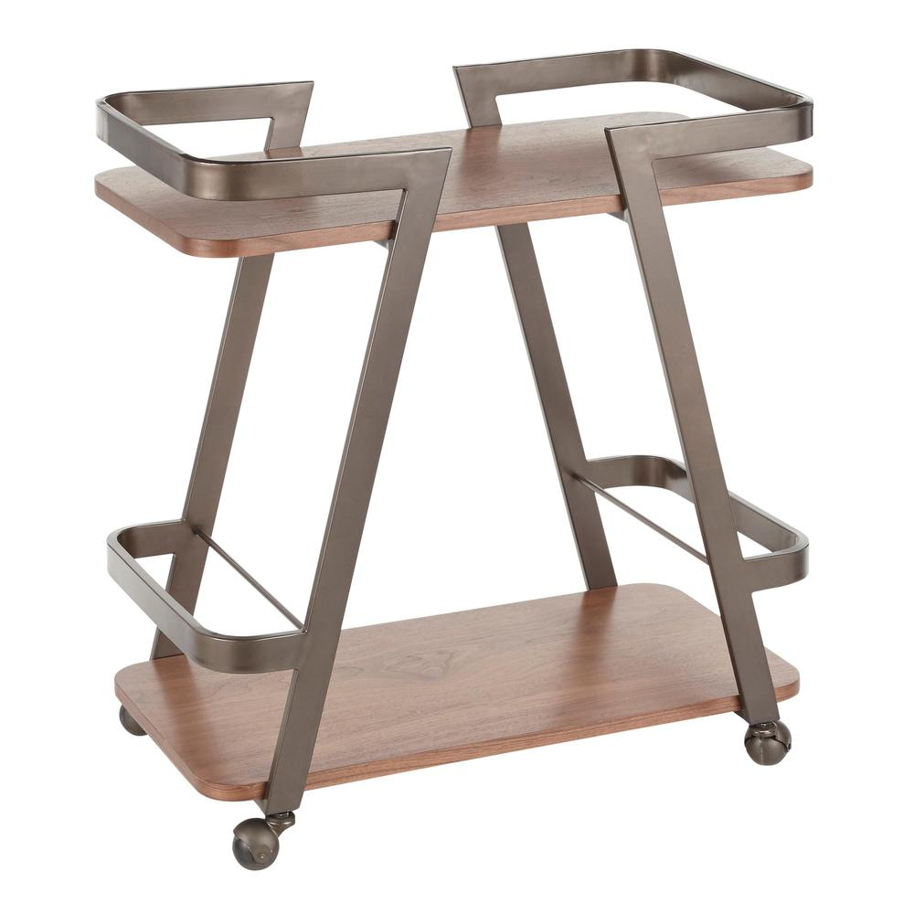 Seven Industrial Bar Cart in Antique Metal and Walnut Wood. Picture 1