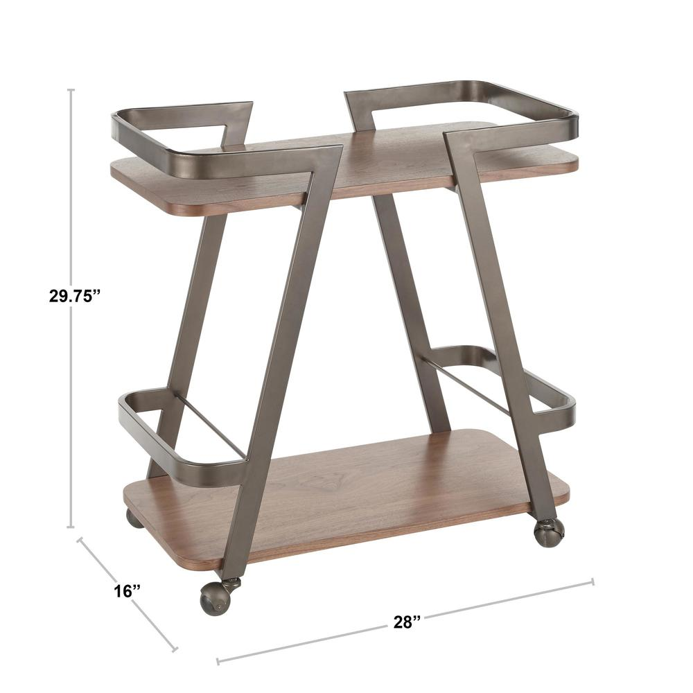 Seven Industrial Bar Cart in Antique Metal and Walnut Wood. Picture 9