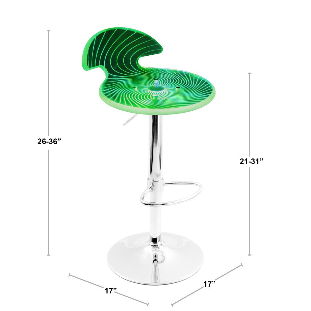Spyra Contemporary Light Up and Height Adjustable Bar Stool in Multi. Picture 7