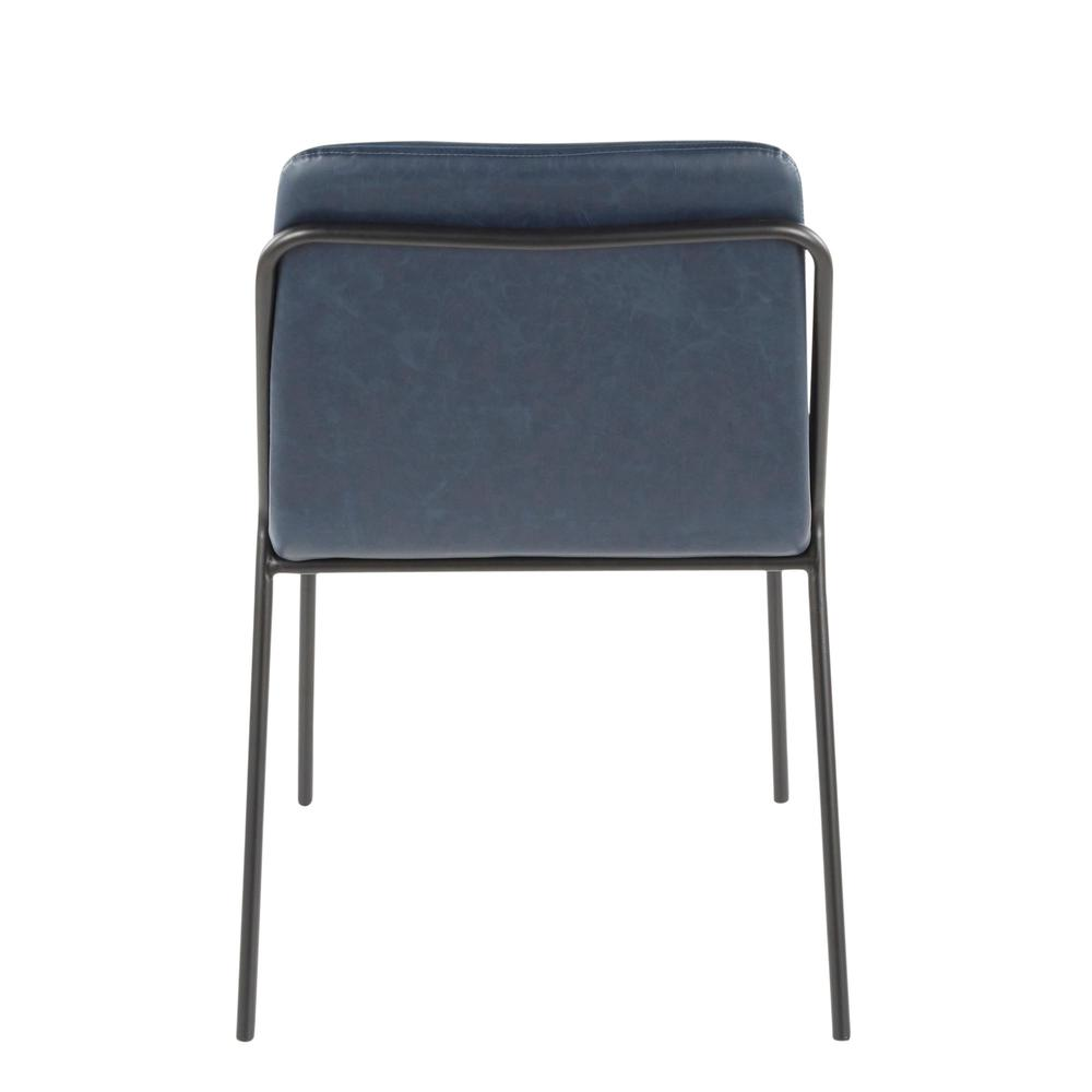 Stefani Industrial Chair in Black Metal and Blue Faux Leather - Set of 2. Picture 5