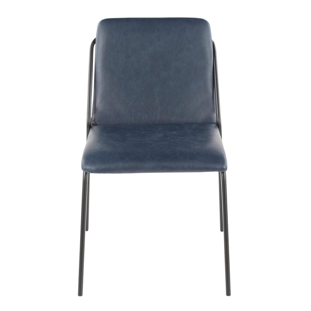 Stefani Industrial Chair in Black Metal and Blue Faux Leather - Set of 2. Picture 6