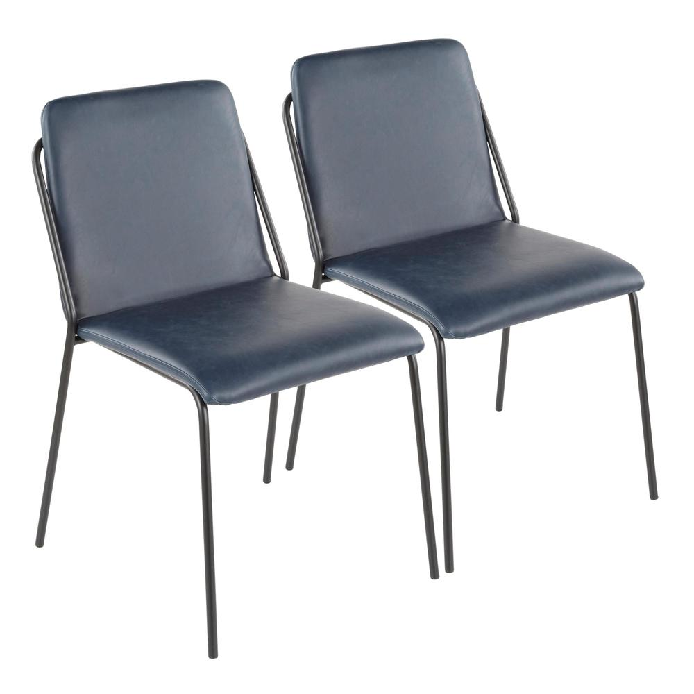 Stefani Industrial Chair in Black Metal and Blue Faux Leather - Set of 2. Picture 1