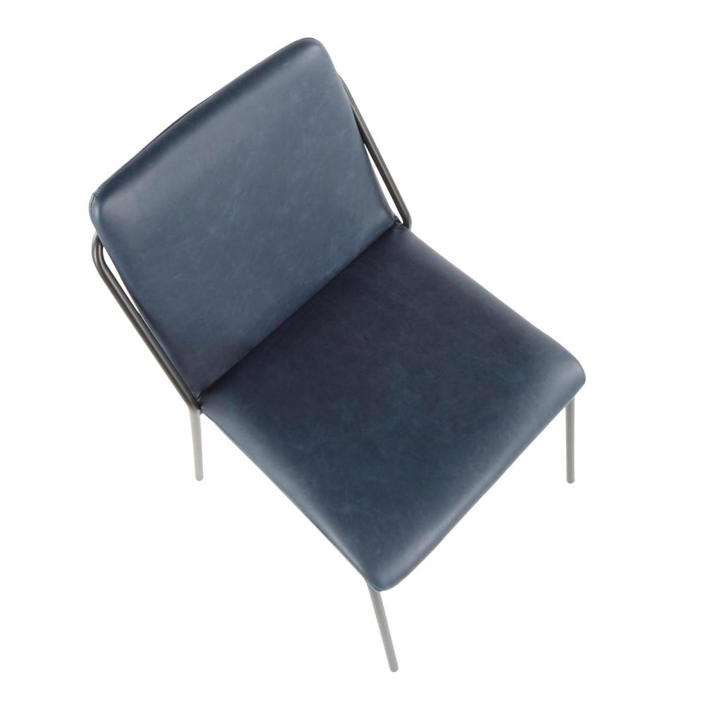 Stefani Industrial Chair in Black Metal and Blue Faux Leather - Set of 2. Picture 7