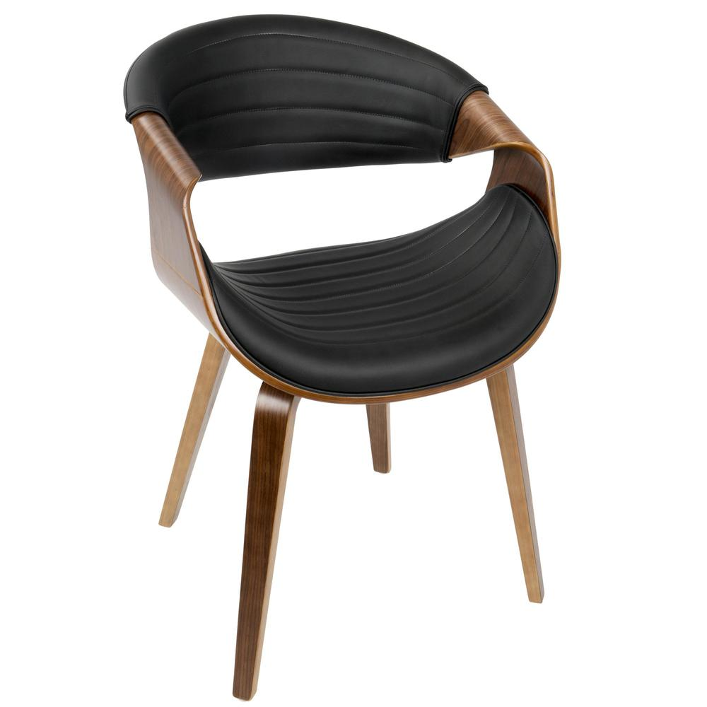 Symphony Mid-Century Modern Dining/Accent Chair in Walnut Wood and Black Faux Leather
