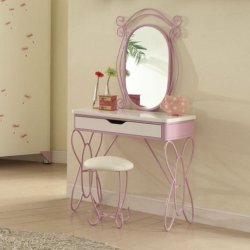 Lilac and White Butterfly Design Desk Vanity Dressing Table - 285579. Picture 4