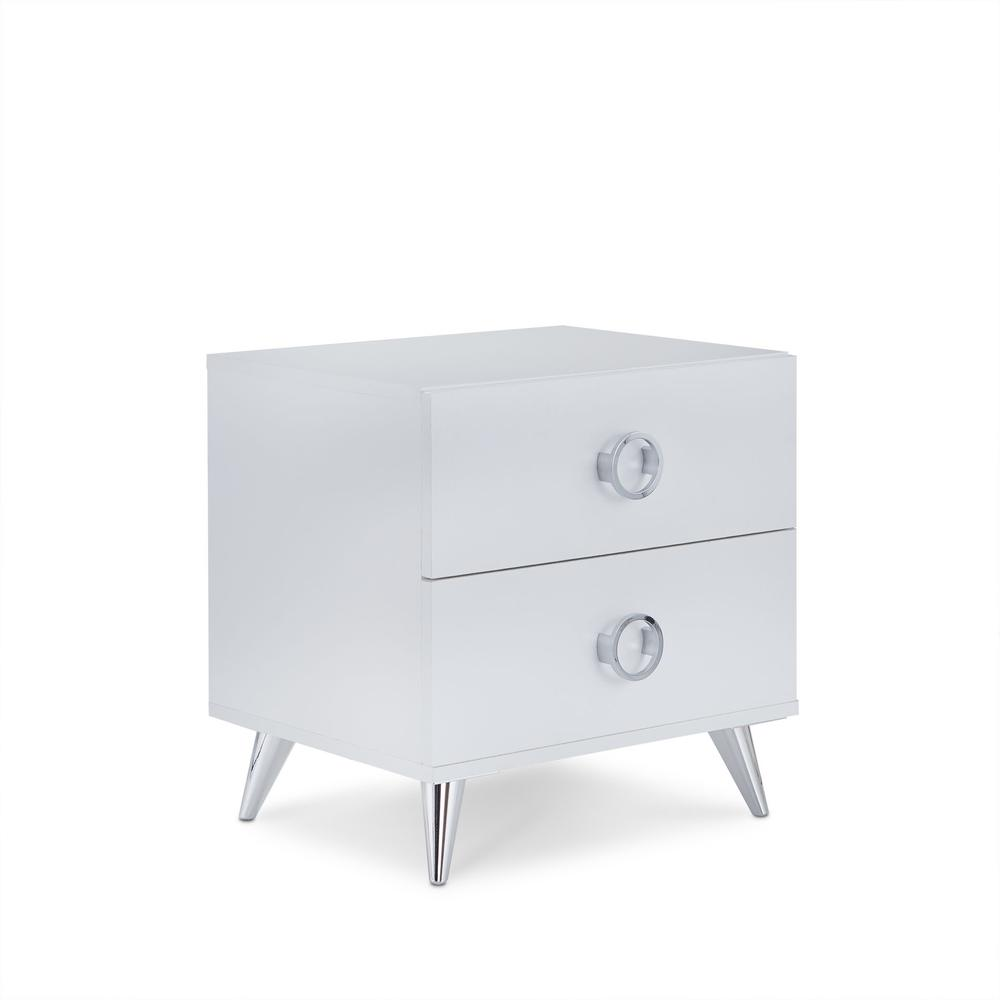 White Wood Rectangular Night Stand - 286440. Picture 4