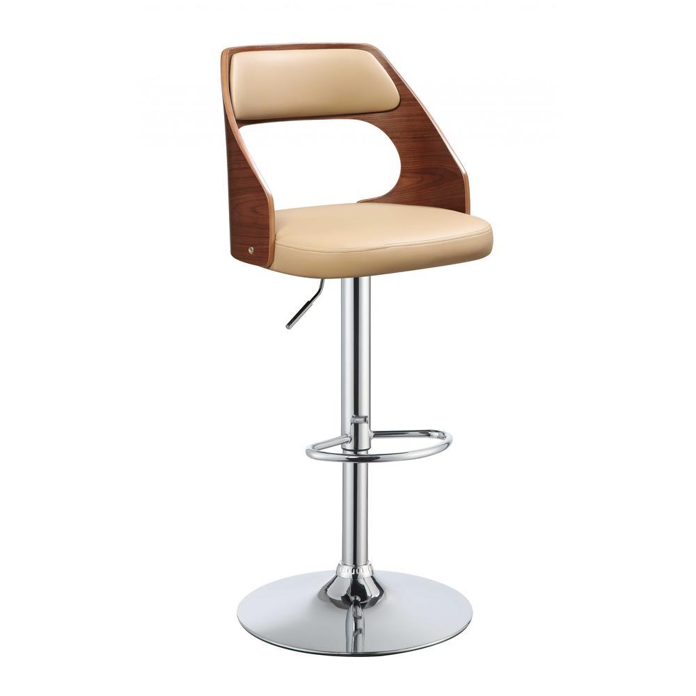 "33"" Sleek Walnut Finish Tan Faux Leather Adjustable Swivel Bar Stool with Chrome Base - 286641. Picture 2"