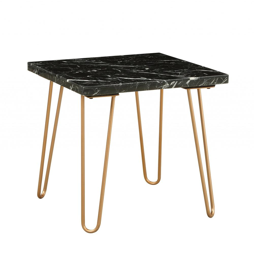 Black Marble and Gold Geometric End Table - 319158. Picture 6
