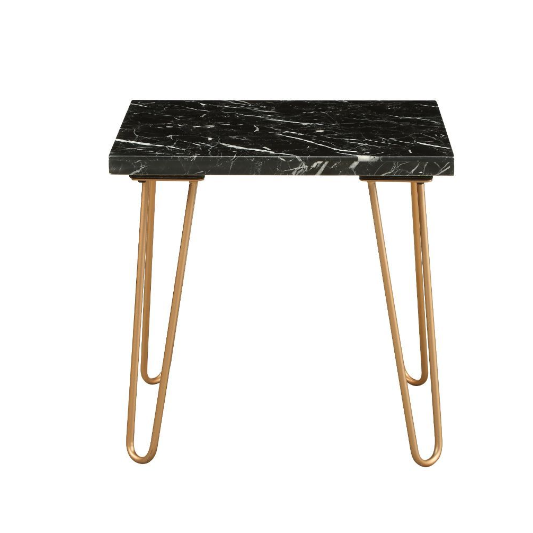 Black Marble and Gold Geometric End Table - 319158. Picture 7