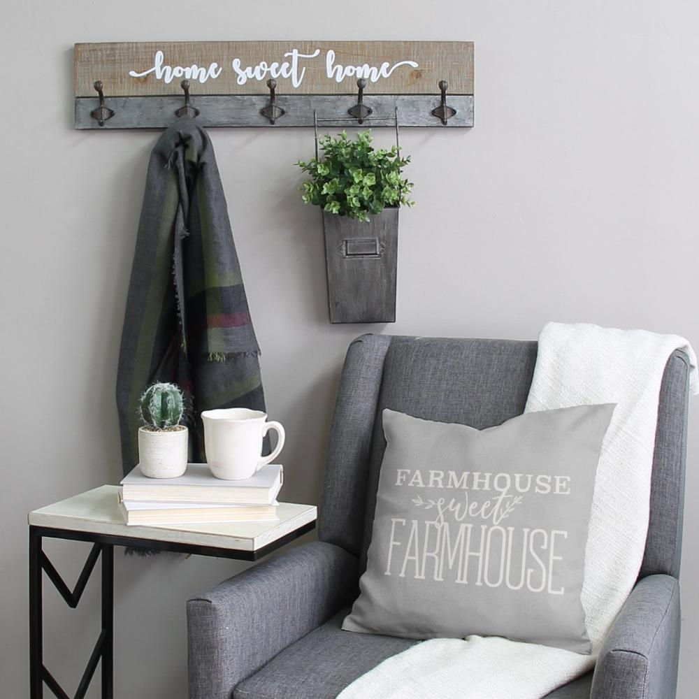 Distressed Home Sweet Home Wood Coat Rack Wall Hanging - 321270. Picture 7