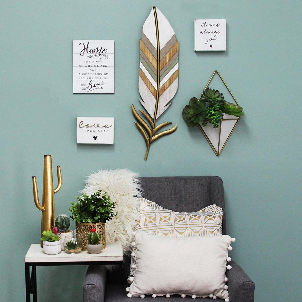 Distressed Boho Feather Metal and Wood Wall Decor - 321276. Picture 7