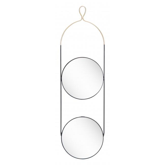 Double Gold and Black Round Hanging Mirror - 385475. Picture 8