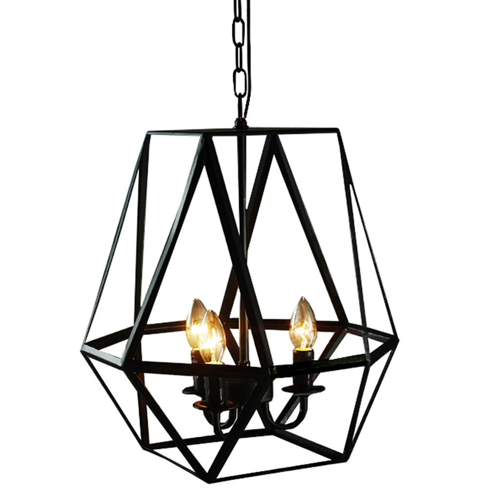 Lee 3-light Antique Bronze Geometric Edison Chandelier with Bulbs - 246143. Picture 1