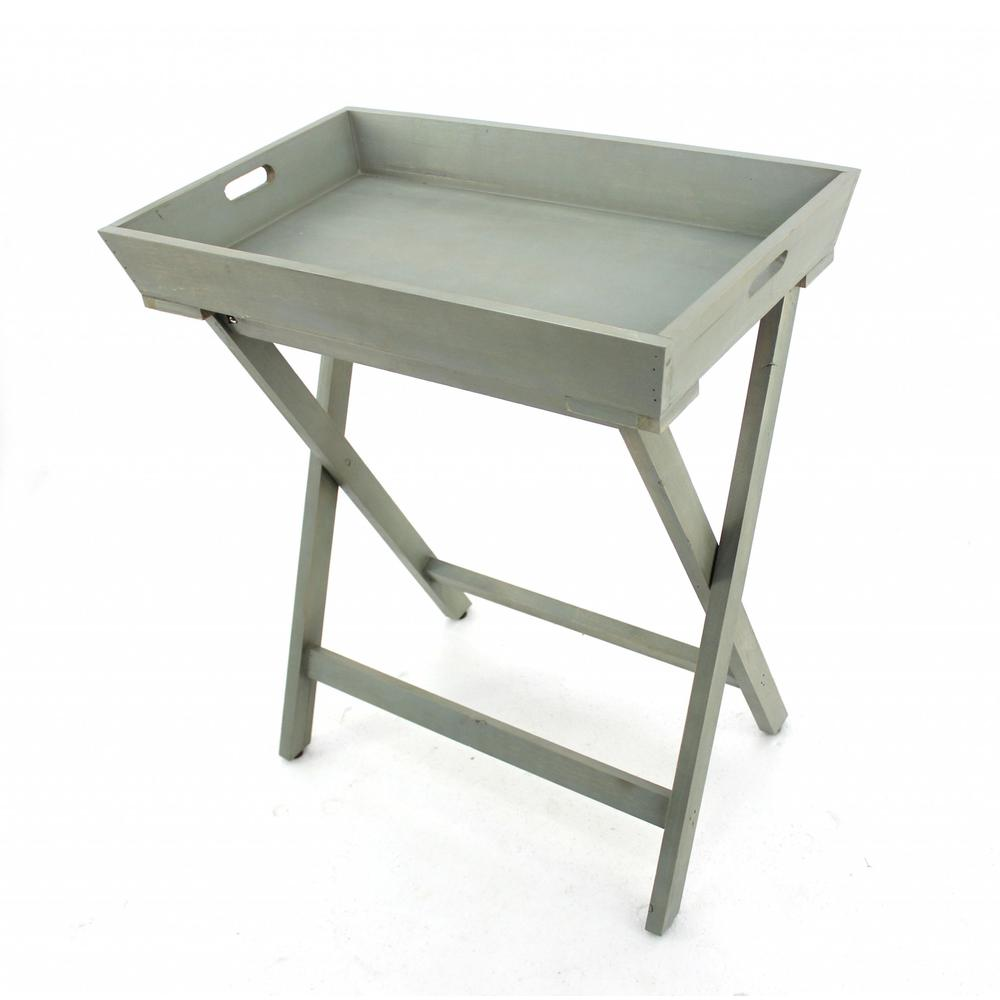 """15.5"""" x 26"""" x 30"""" Gray/Light Blue, Wooden - Serving Table - 274387. Picture 1"""
