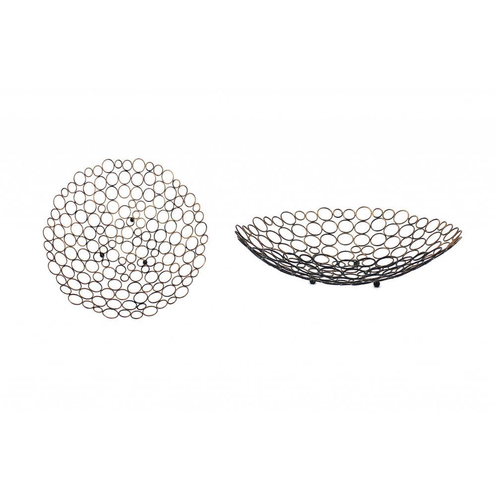 "18.5"" x 18.5"" x 4.5"" Bronze Decorative Metal  Tray - 274445. Picture 1"